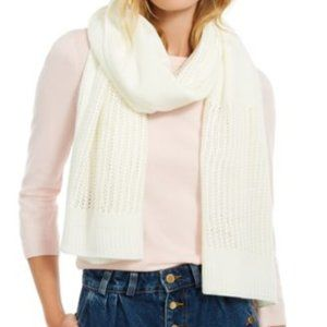 DKNY Open-Knit Blocked Scarf, Cream, One Size